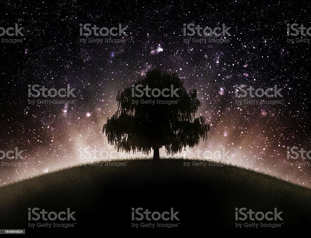 Tree hill space backround stock photo