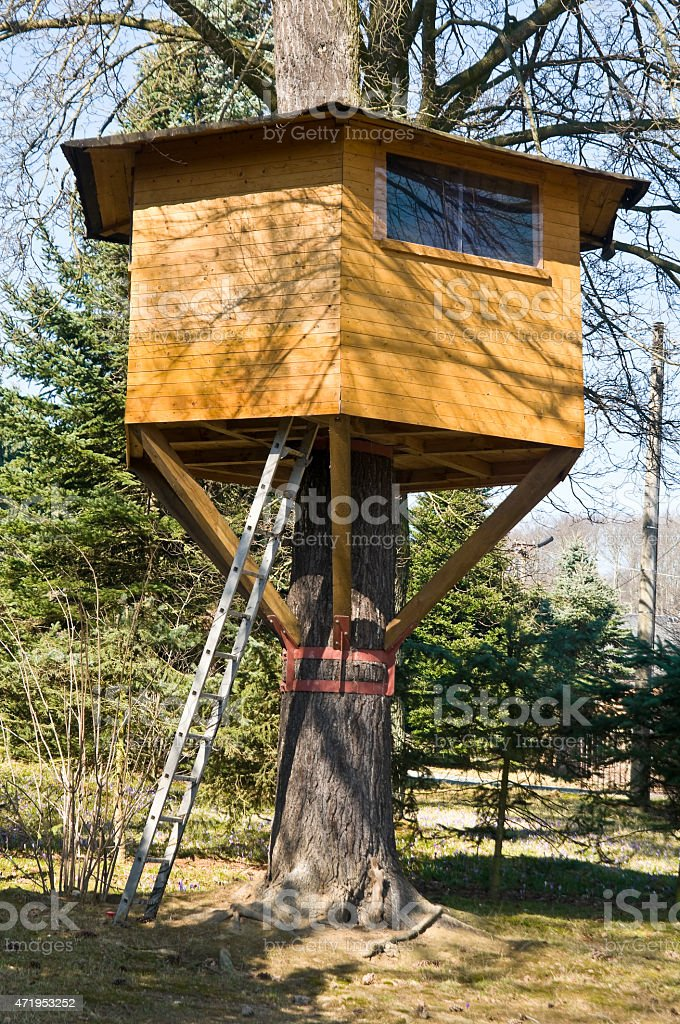 Tree house in the garden stock photo