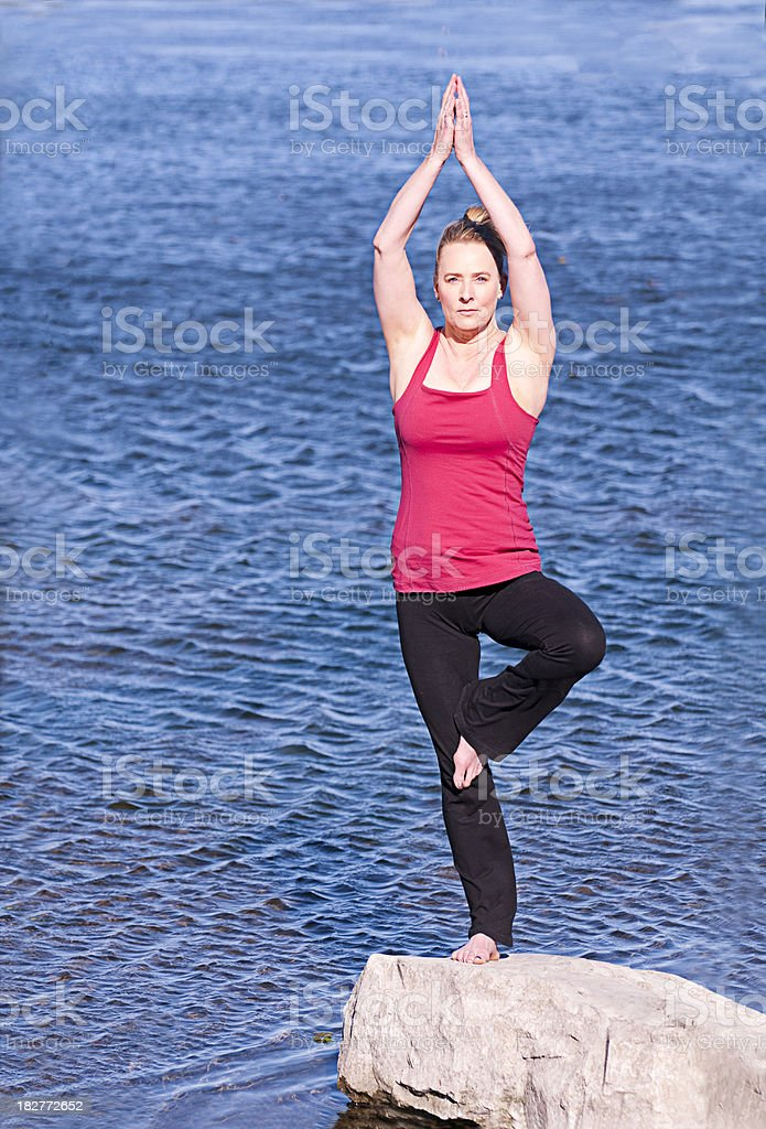 Tree Pose in Nature stock photo