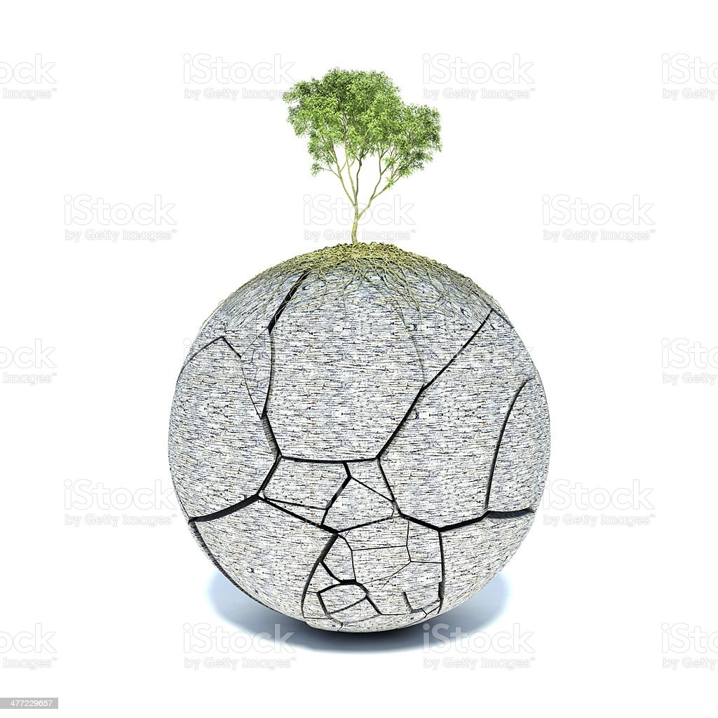 Tree roots covering the planet royalty-free stock photo
