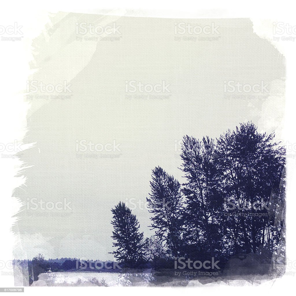 Tree silhuoette by lake in winter stock photo