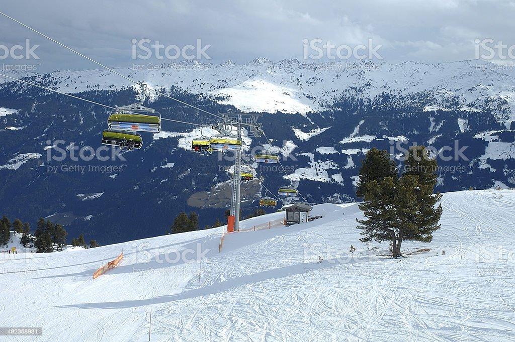 Tree ski lift stock photo