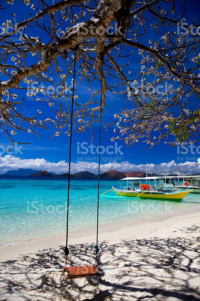 Tree, swing and shadow on Banol beach in Coron, Philippines stock photo