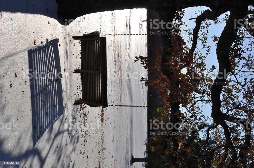 Columpio sombra de un árbol en el norte de Texas nieve foto de stock libre de derechos