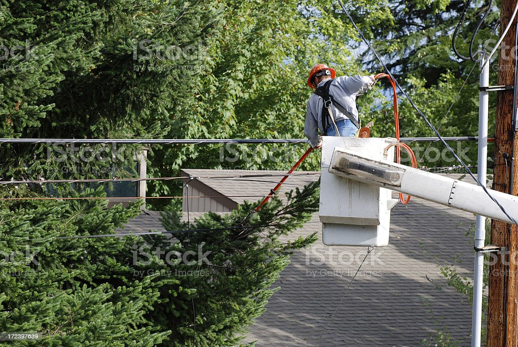 Tree trimmer with power saw royalty-free stock photo