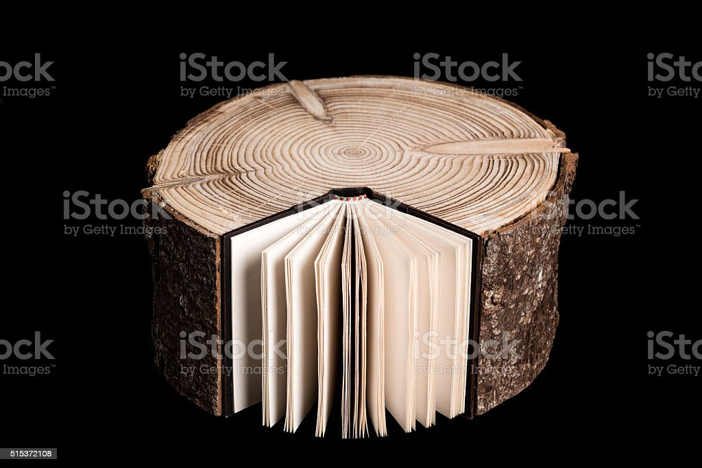 Tree Trunk and Book. stock photo