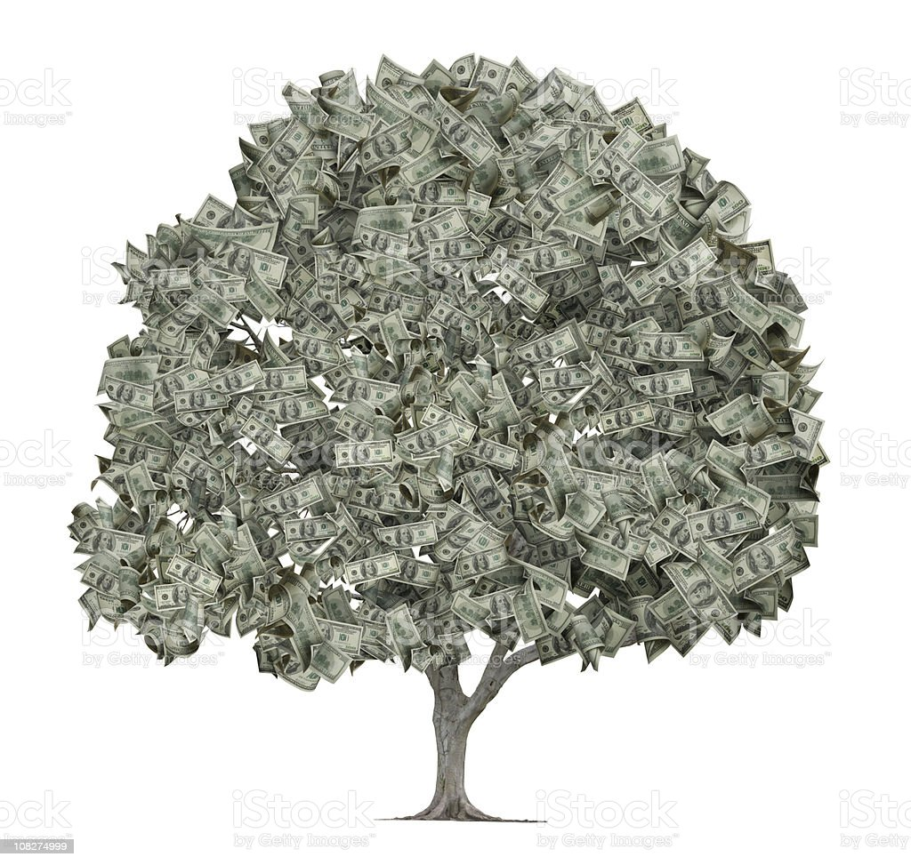 Tree with Leaves Made Out of Hundred Dollar Bills stock photo