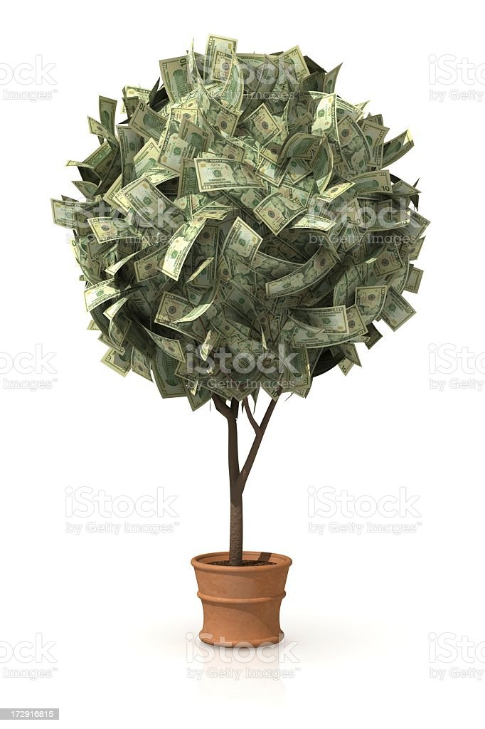 A tree with money in place of leaves royalty-free stock photo