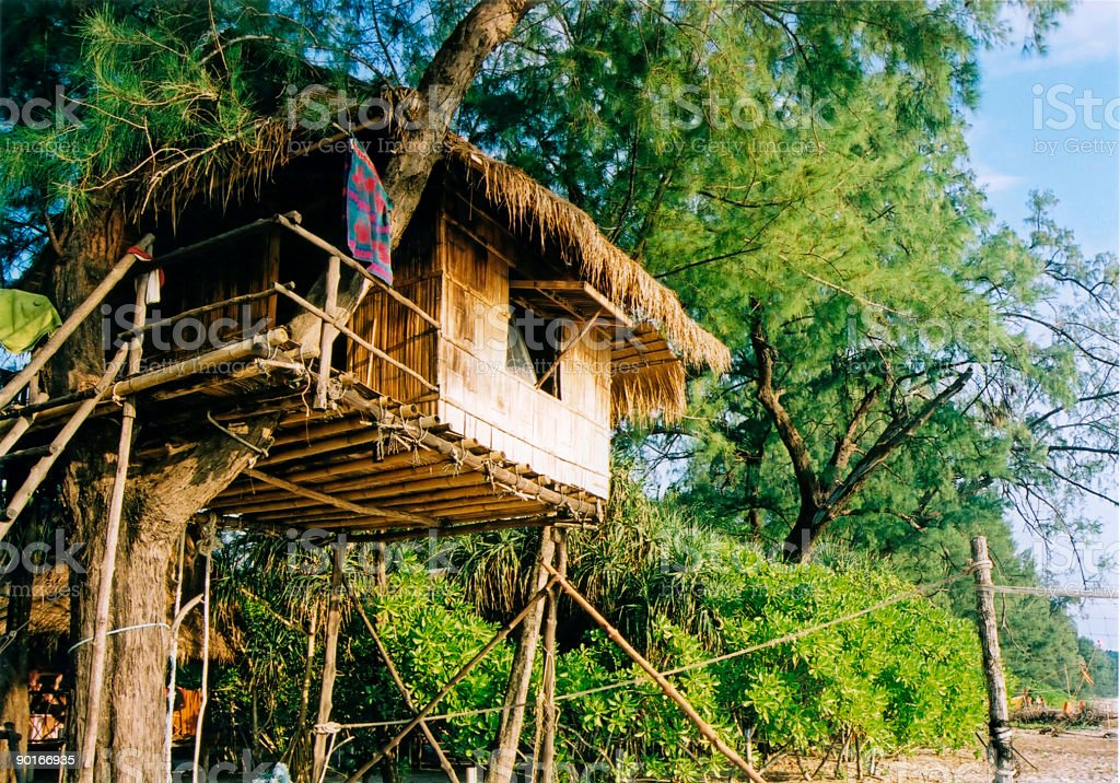 Treehouse beach resort thailand stock photo
