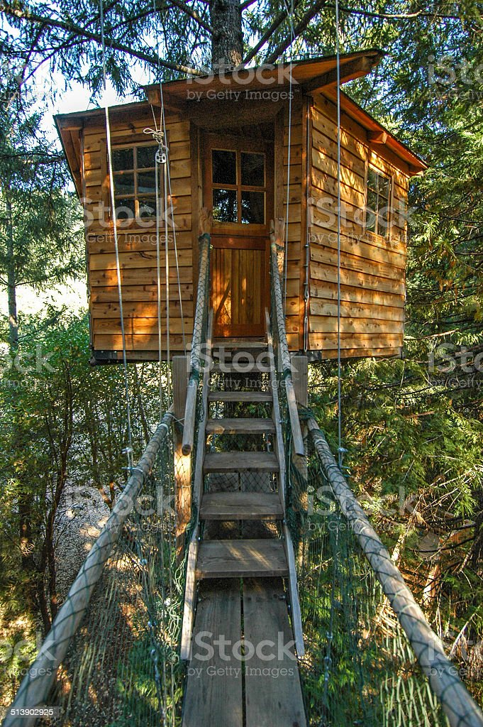 Treehouse Cabin stock photo