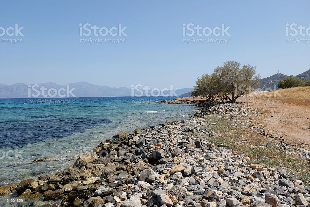 Trees and Mediterranean sea Crete Greece stock photo
