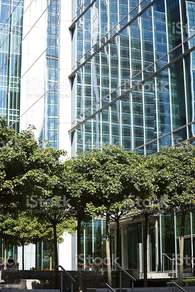 Trees and Office Buildings in Financial District of London royalty-free stock photo