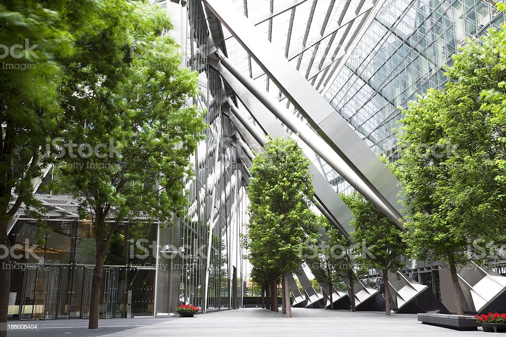 Trees and Office Buildings stock photo