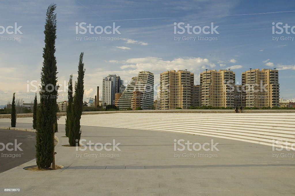 Trees and skyscrapers royalty-free stock photo