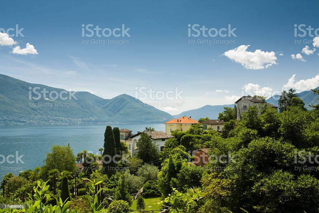 Trees and the horizon in the distance in Lago Maggiore stock photo
