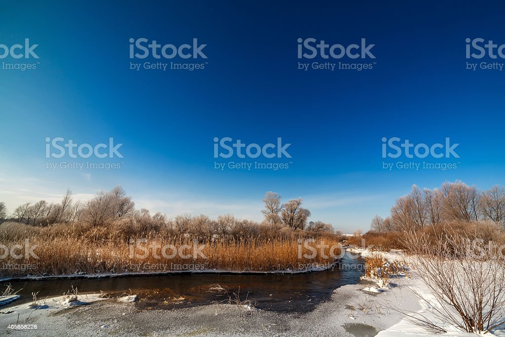 Trees covered with hoarfrost on the banks of  frozen river. stock photo