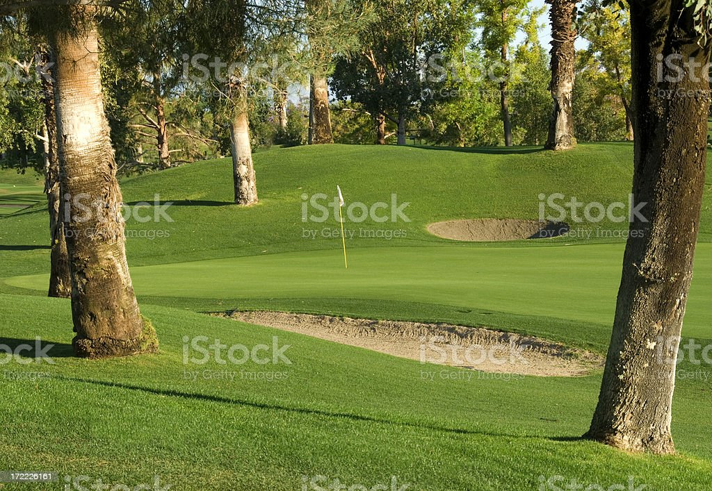 Trees frame sand traps and a green of a golf course stock photo
