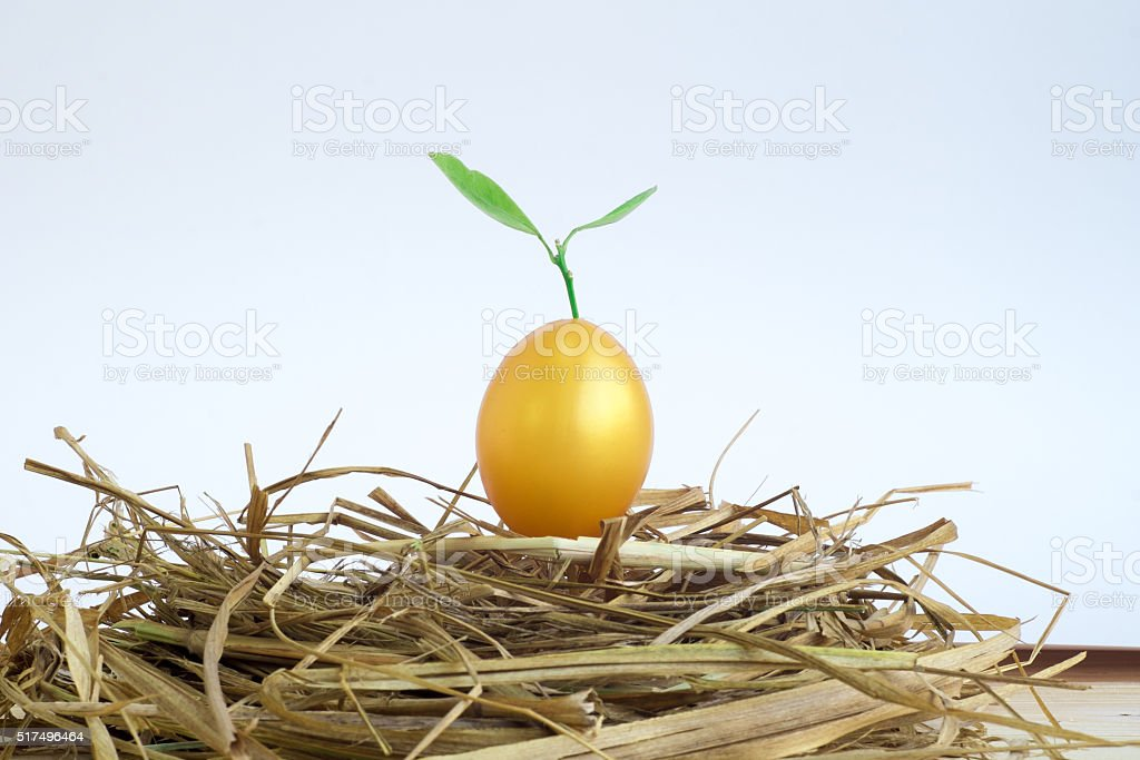 Trees grow from the golden Easter eggs on the nest stock photo