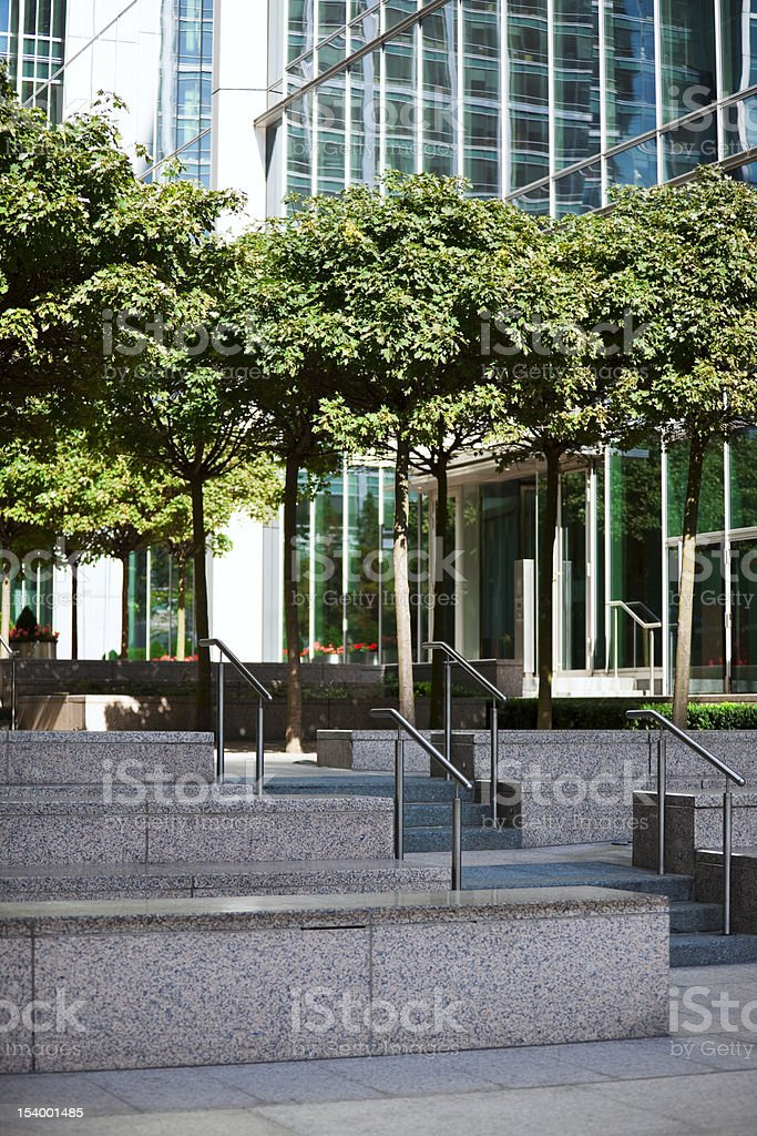 Trees in Financial District of London royalty-free stock photo