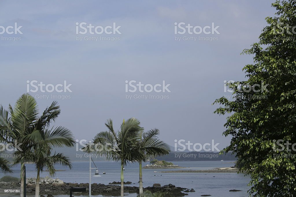 Trees Mountains Clouds royalty-free stock photo