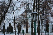 trees, Park, winter, background church. lamp