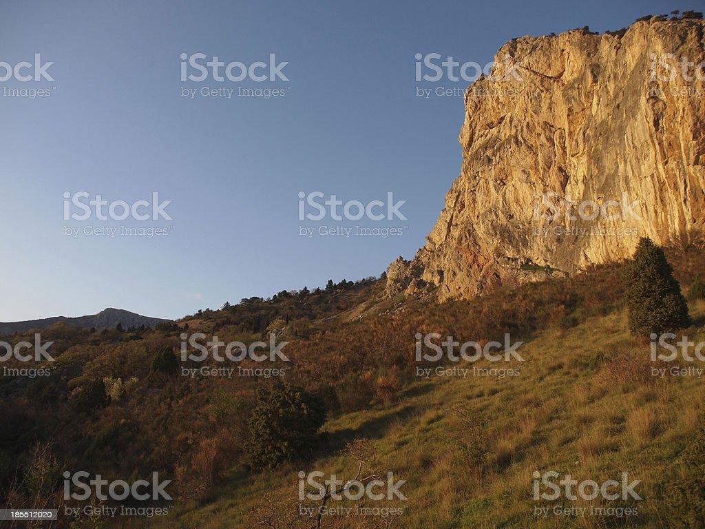 trees, sky and rock royalty-free stock photo