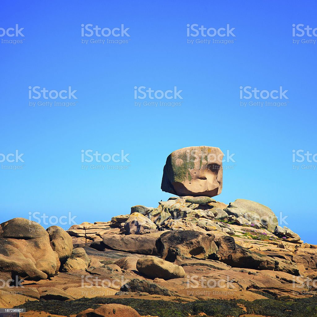 Tregastel, the dice rock in pink granite coast, Brittany, France. stock photo