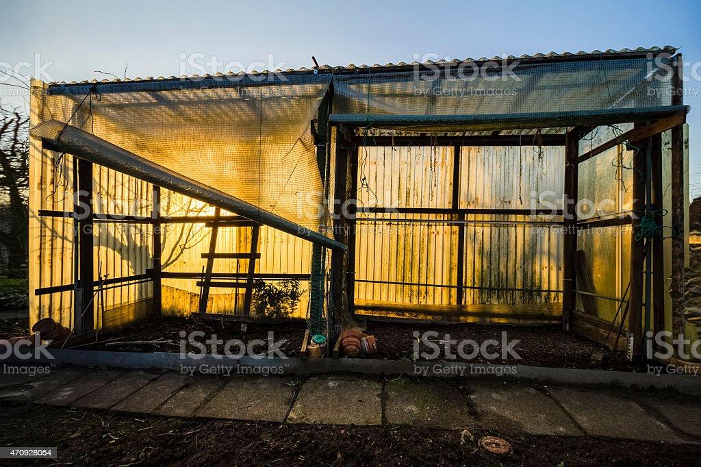 Treibhaus im Abendlicht stock photo