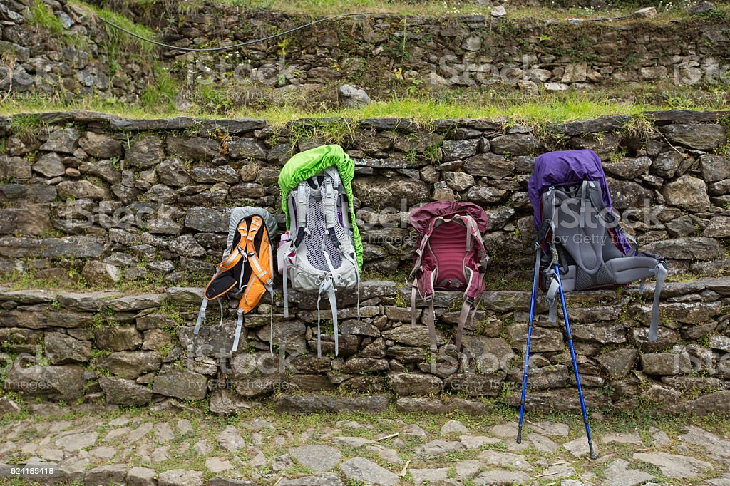 trek at Sagarmatha National Park, Himalayas, Nepal. stock photo