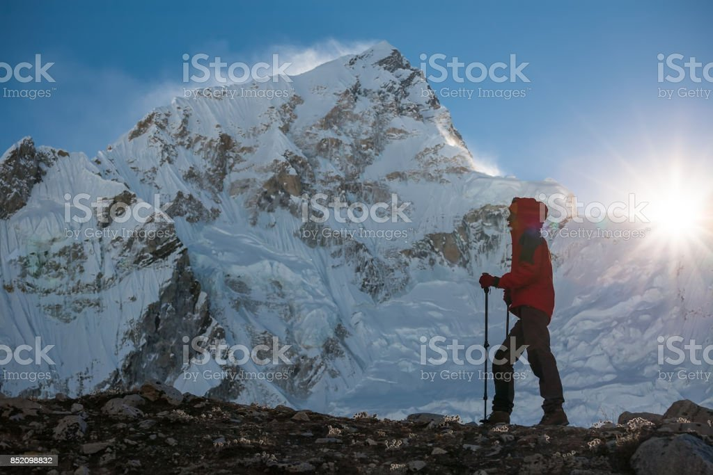Trekker in Khumbu valley on a way to Everest Base camp stock photo