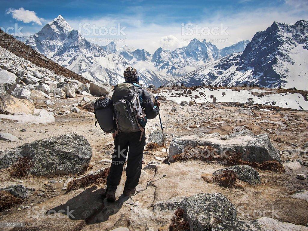 Trekker on the Everest Base Camp Trek, Nepal stock photo