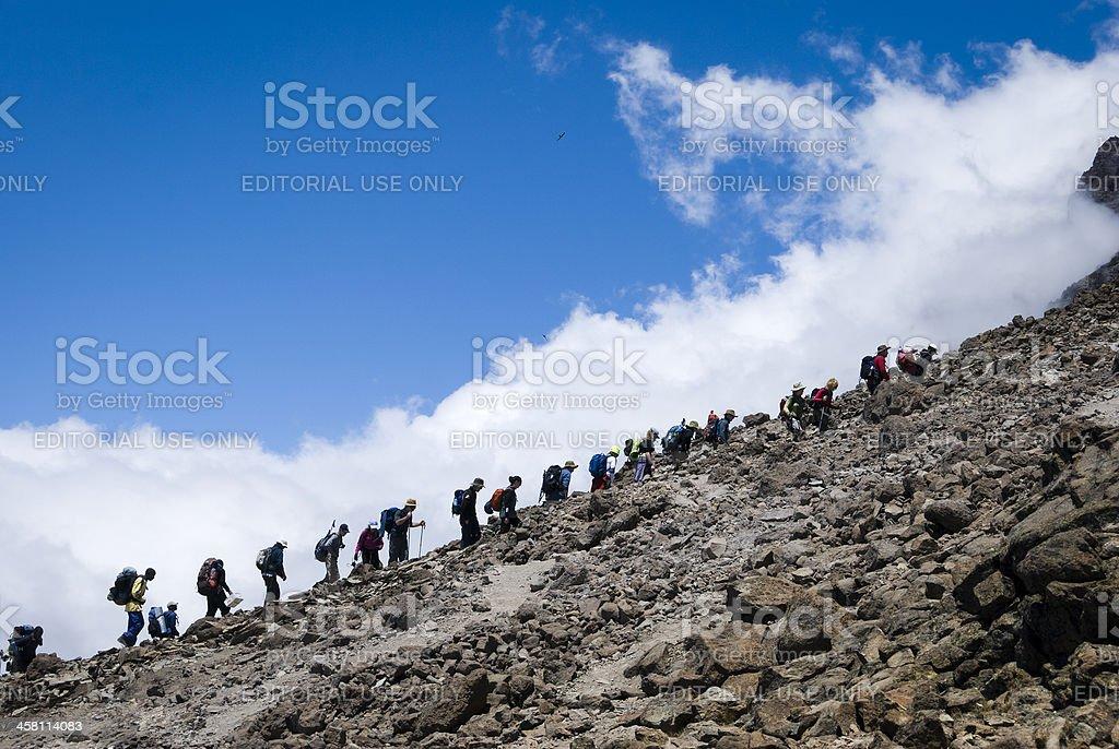 Trekkers arriving at Base Camp, Mt Kilimanjaro, Tanzania stock photo