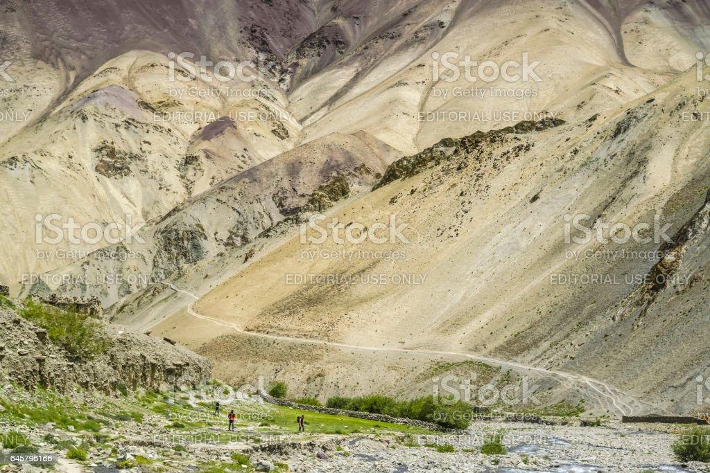 Trekkers arriving to Yurutse homestay in the Markha valley (Ladakh) stock photo