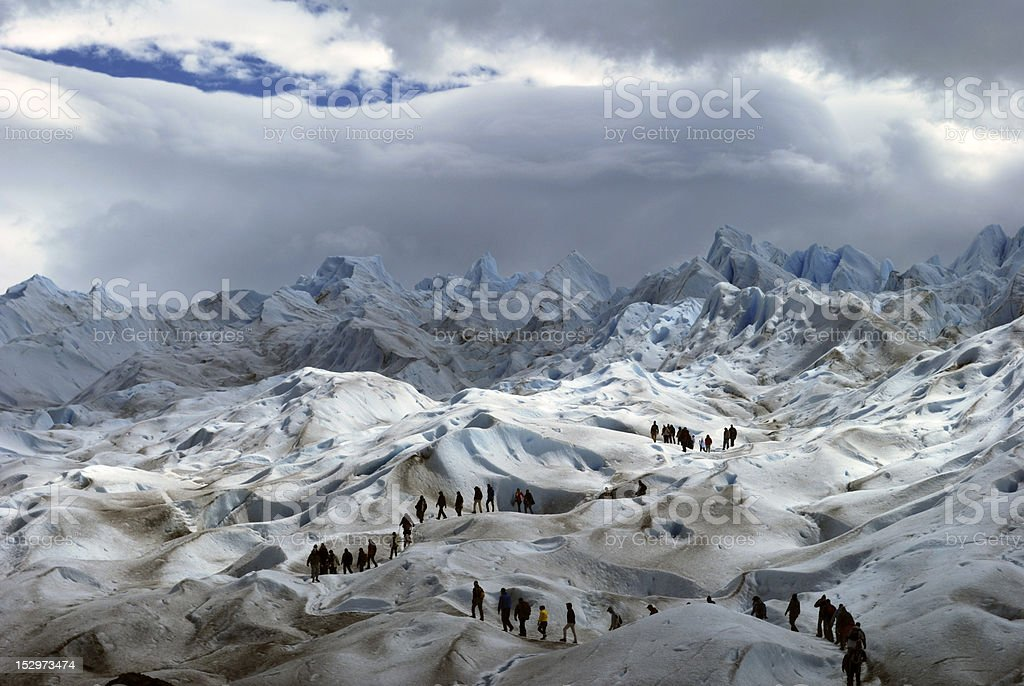 Trekkers at Perito Moreno Glacier El Calafate Argentina stock photo