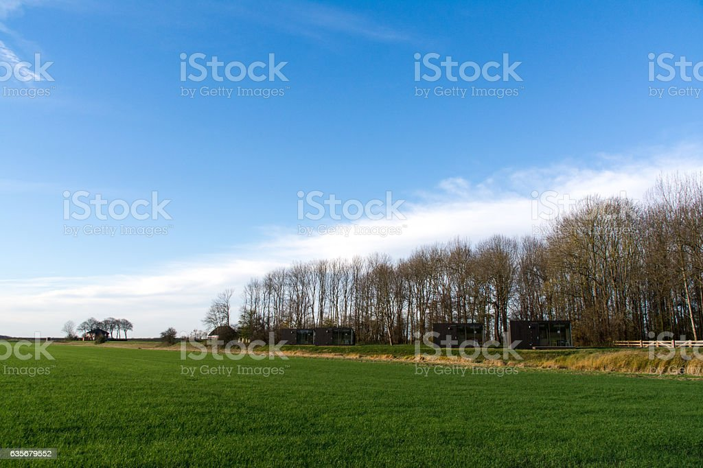 Trekkers huts in Finsterwolde, The Netherlands stock photo