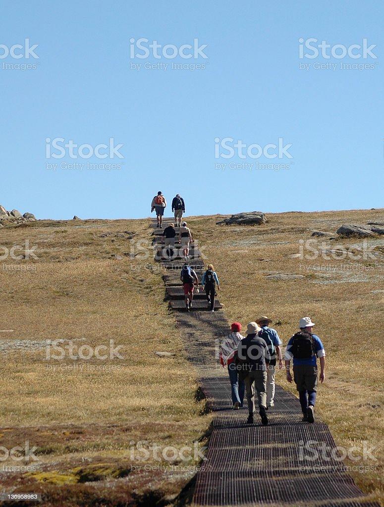 Trekkers in Australia on Mount Kosciusko stock photo