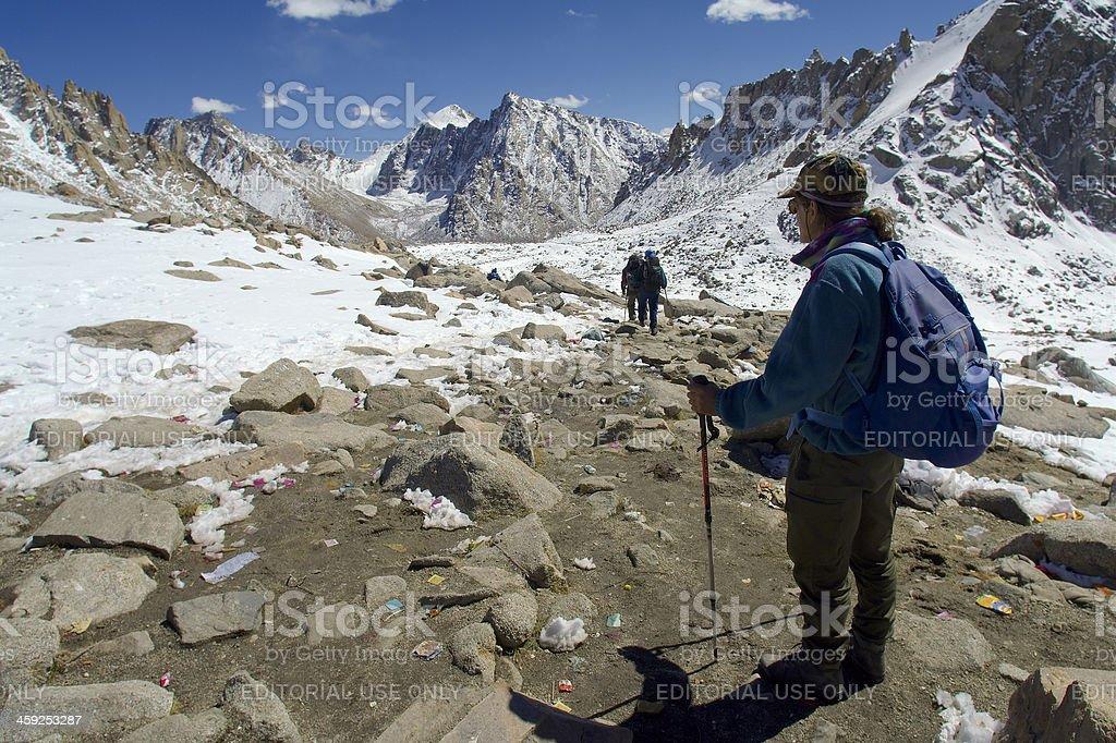 Trekkers on Kailash Kora stock photo