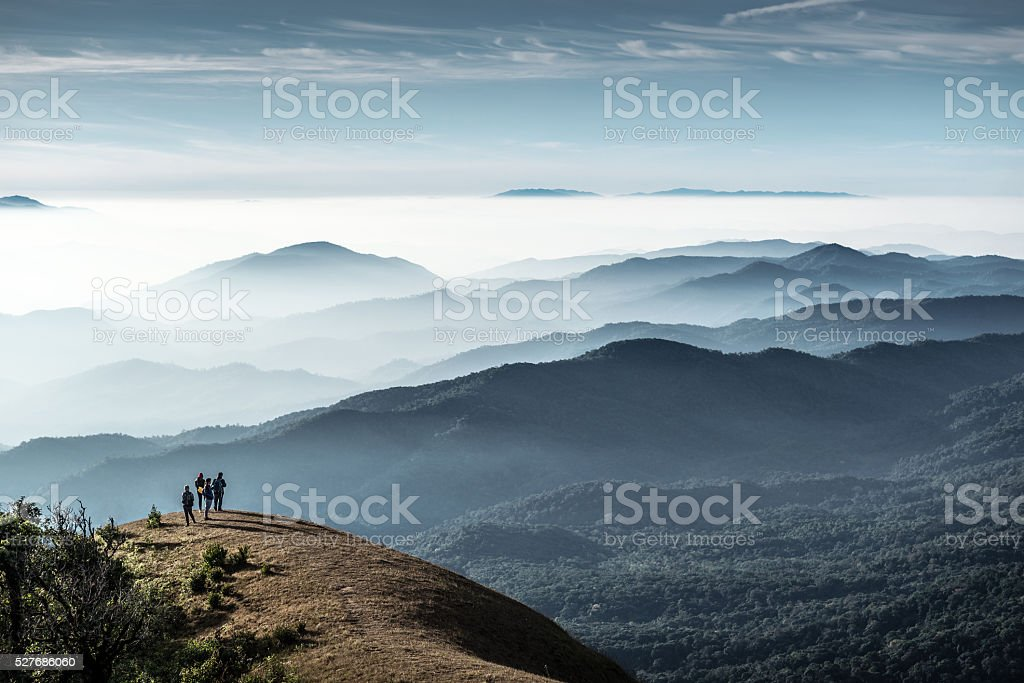Trekkers standing on the hill, Monjong, Thailand stock photo