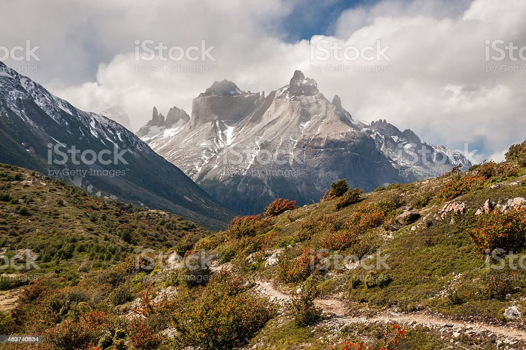 Trekking adventure in Torres del Paine National Park, Chile stock photo
