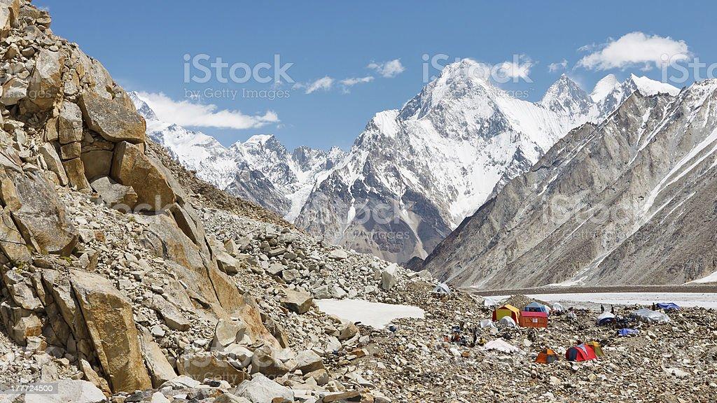 Trekking Expedition Camp, Karakorum, Pakistan stock photo