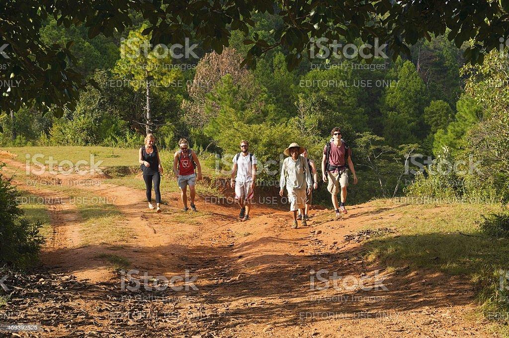 Trekking in Burma royalty-free stock photo