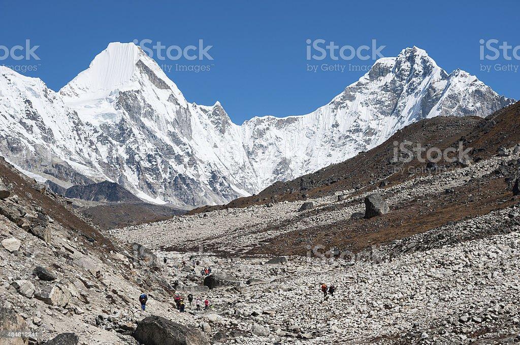 Trekking in Everest region, Nepal stock photo