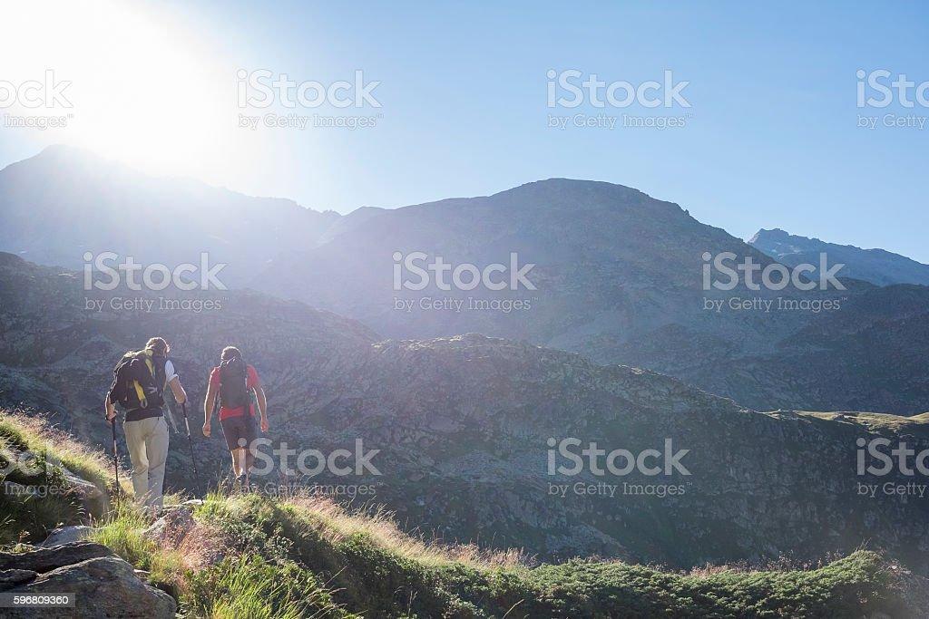 Trekking in hight mountain stock photo