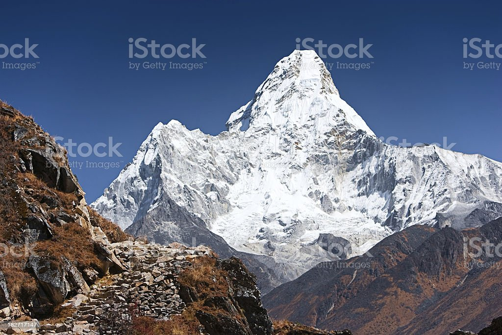 Trekking in Himalayas - mount Ama Dablam royalty-free stock photo