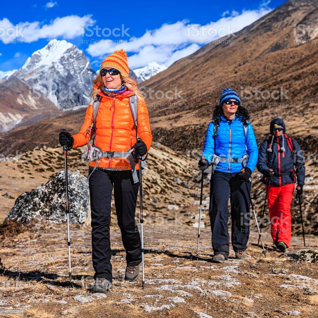 Trekking in Himalayas, Mount Everest National Park stock photo
