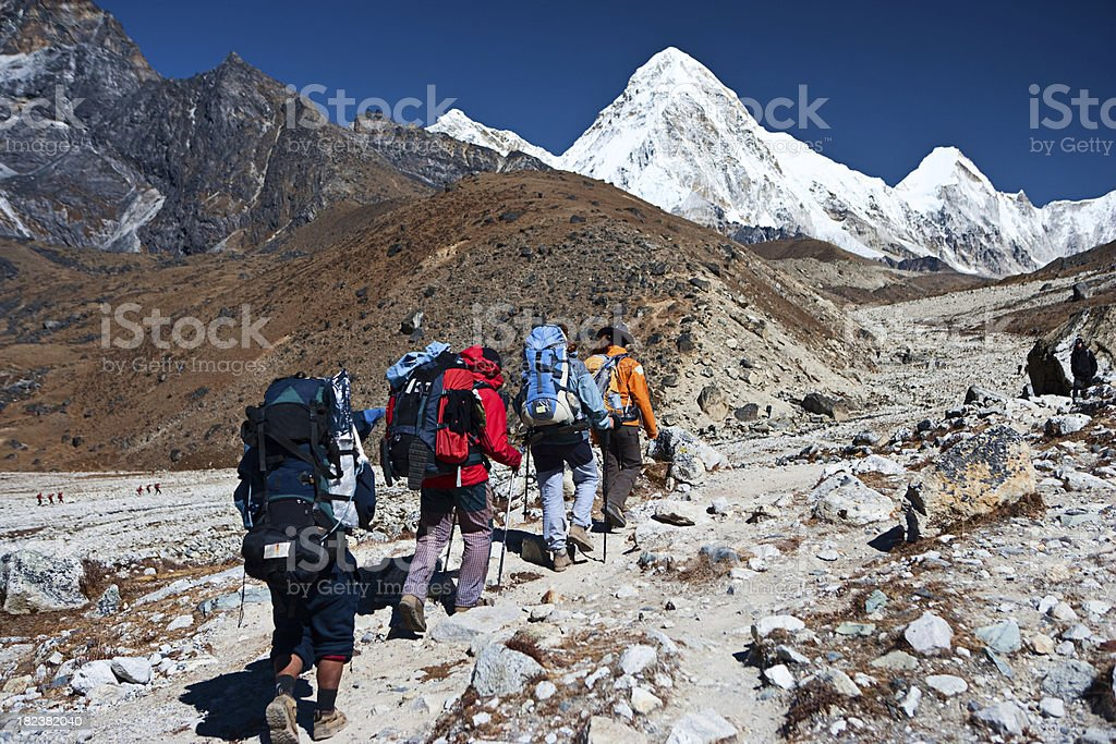 Trekking in Himalayas, mount Pumo Ri on the background stock photo