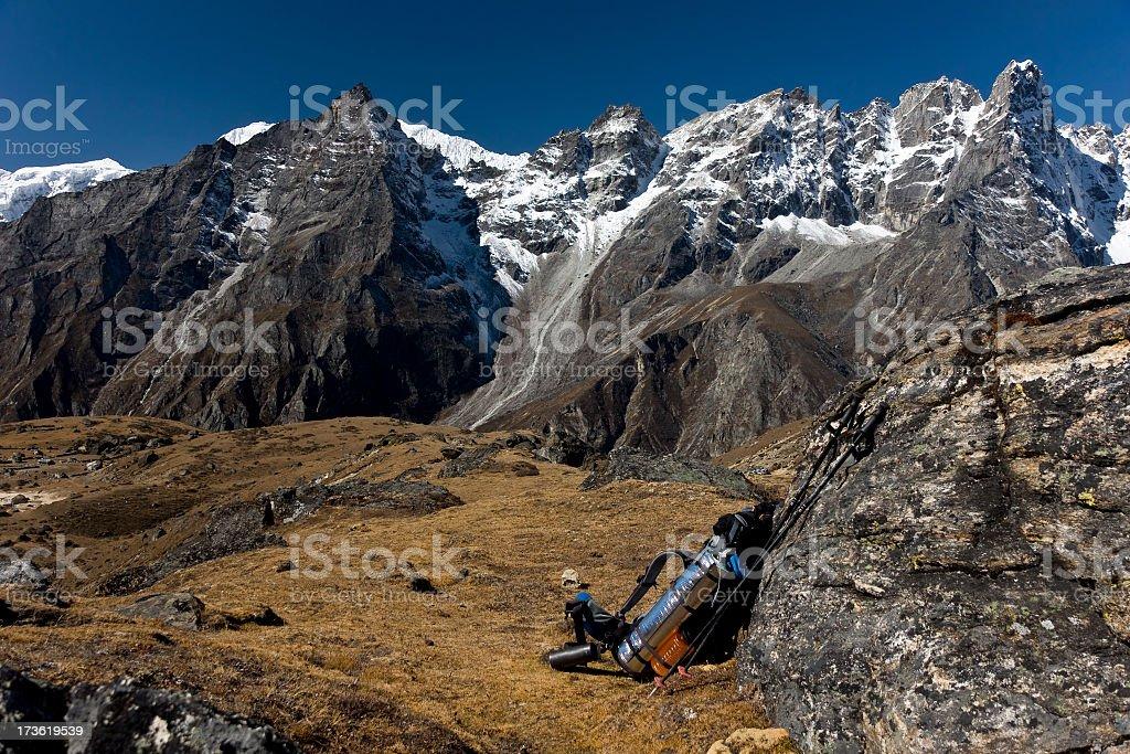 Trekking in Nepal Himalaya. Backpack. Great details! royalty-free stock photo