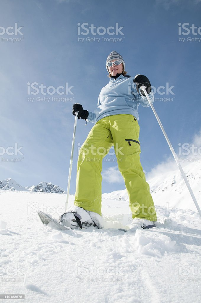 Trekking in snow stock photo