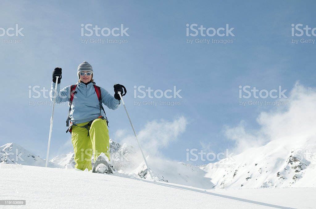 Trekking in snow royalty-free stock photo