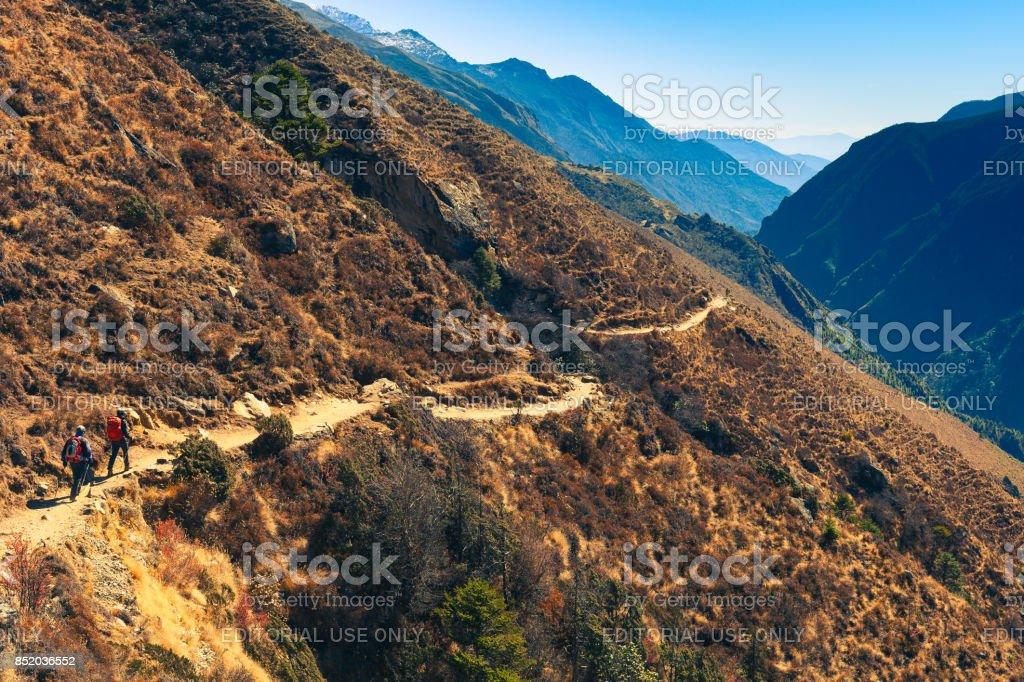Trekking in Solukhumbu stock photo